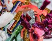 10 Glitter Hair Ties ~ Glitter Bracelets ~ Mix of Elastic Hair Ties