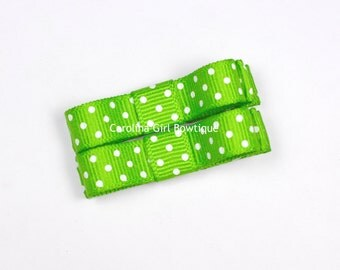 Apple Green Dots Hair Clips Basic Tuxedo Clips Alligator Non Slip Barrettes for Babies Toddler Girl