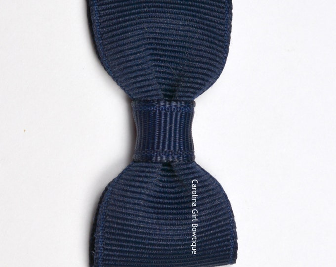 Navy Blue Baby Hair Bow ~ 2 in. Bow with No Slip Grip ~ Small Hair Bows Newborns Toddler Girls