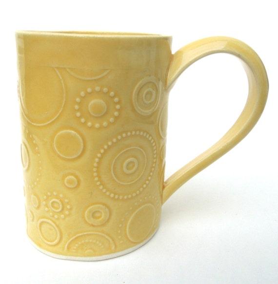 Whimsical Yellow Circle Textured Handmade Ceramic Pottery Coffee Mug
