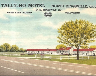 Tally Ho Motel North Kingsville, OH  Vintage 20's -40's Linen Postcard