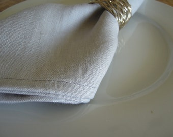 Set of 4 Pure Linen Napkins, Cloth Napkins, Table Linens, White, Grey, Oatmeal, Green