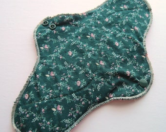 HEAVY Mama Pad .. Great Postpartum Pad .. 12 inch Green with Pink Flowers Free Shipping