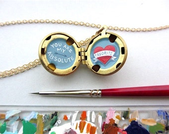 You are My Absolute Favorite Valentine - Tiny Original Painting In Locket Necklace