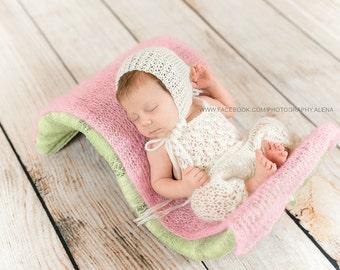 Knit Romper & Hat,  Newborn Photo Props, Mohair Bonnet - U Choose Color Size