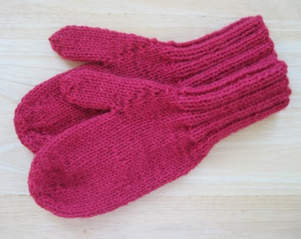 MITTENS HAND KNIT Adult Wool Cherry