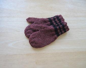Child Wool Mittens Small Hand Knit Cognac Heather