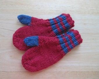 Child Wool Mittens Small Hand Knit Cherry