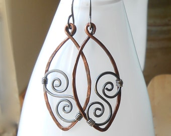 Hammered Copper Hoop Earrings with Oxidized Silver Spirals, Mixed Metal Earrings