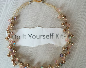 Wire Crochet Necklace Kit (including Pattern) - Gold, Copper, Pink and Bronze Tones