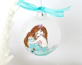 Mermaid Decor, Frosted Glass Bulb, Handpainted Mermaid Ornament,OOAK Mermaid, Ornament,Coastal Beach Decor, Christmas Decor