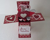 Be My Valentine Card in a Box Pop Up Greeting Card Handmade