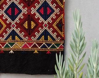 Vintage Kilim Rug, Turkish Rare Soumak Kilim, Large Cushion Cover Global Textile, Hand Woven Kilim made in Turkey 1940's - 1950's Sumak Rug