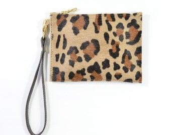 Mimi - Handmade Leopard Print Hair On Hide Leather Clutch Bag Zip Pouch Purse