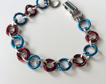 Maroon and Turquoise Bracelet