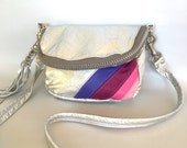 SALE - Alberta leather bag in silver/pink/purple