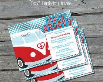 Hippy Birthday Invite | Vw Bus Bug Invitation | Groovy Hippie 60s 70s | Digital Download | Party Invitation | Digital Birthday Invite