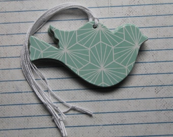 12 Bird Tags mint/aqua white geometric patterned paper over chipboard