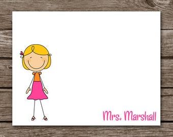 PRINTABLE Teacher Note Cards, Teacher Cards, Stick Teacher Cards, Teacher Gift, Personalized Note Cards,