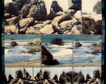 """Postcards from the Edge -- 10x10"""" Art Quilt mounted on canvas"""