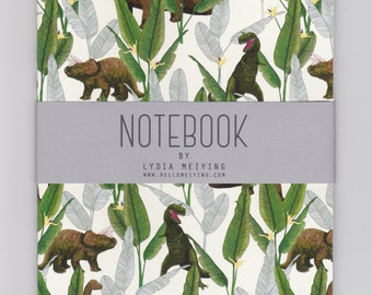 A5 Notebook - Dinosaur Jungle Cream - with Plain Pages
