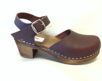 Burgundy Brown oiled Bootcut Medium heel Dalanna with buckled ankle strap