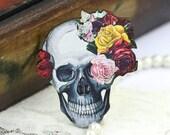 4pcs Rose Skull Charms, Wood Flower Skull Pendants HW019B