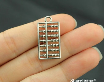 14pcs Abacus Charms Pendant Antique Silver Tone 2 sided - SC184