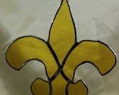 Stained Glass Yellow Fleur de Lis Saints  Suncatcher