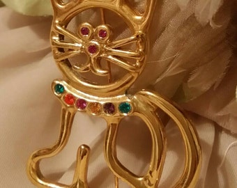 Vintage large 1980s Gold Tone And Rhinestone Kitty Cat Brooch
