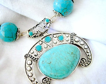 Turquoise Silver Tibetan Lined Pendant Beaded Beautiful Handmade Necklace