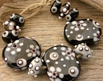 SALE - STARBURST - Handmade Lampwork Bead Set - Focal Tabs and Earring Pairs - 11 Beads