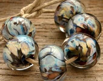 ROCKY MOUNTAIN HIGH - Handmade Lampwork Encased Beads - Earring Pairs - 6 Beads