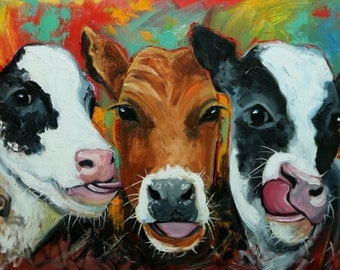 Cows painting animals 513  24x36 inch original portrait oil painting by Roz