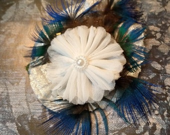 CLOUD OF BLUE - White, Silver, and Peacock Blue Floral Hair Fascinator