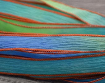 Hand dyed silk ribbons cord jewelry supplies by jamnglass for Blue ribbon koi