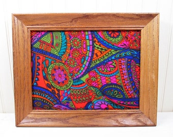 Vintage Framed Fabric Wall Hanging Art Psychedelic Retro Hippie 60s