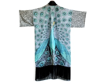 Peacock Kimono, Bird Kimono Jacket, Boho Kimono, Fringe Kimono, Chiffon Kimono, Kimono Cardigan, Boho Wedding, Wedding Kimono