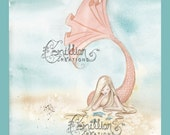 Coral Starfish Mermaid Print  from Original Watercolor Painting by Camille Grimshaw