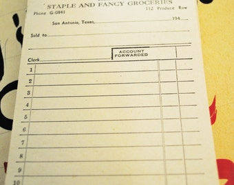 1940 Duplicate Copies Store Receipt Book for White Fat Company Dealers in Staples and Fancy Groceries
