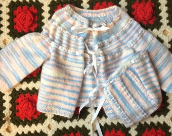 Vintage Sweater and Bonnet 6/9 Months