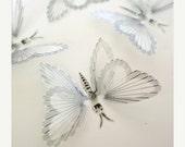NEW YEAR SALE B124 - 12 Silver Butterflies - Wedding Decorations