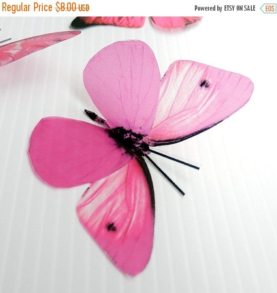 NEW YEAR SALE 6 x Special Candy Pink 3D Butterflies great for Weddings, Crafts