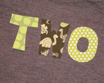 Boys Dinosaur TWO Shirt for 2nd Birthday - short sleeve heather brown shirt with lettering in lime and green