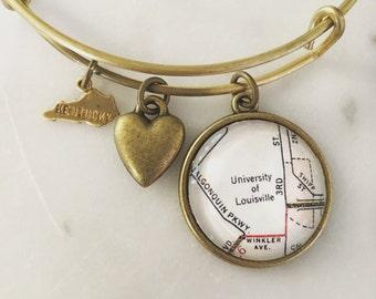 University of Louisville Map Charm Bangle Bracelet - Map Jewelry - Kentucky - Graduation Gift - Student - Alumni - Go Cardinals