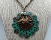 Patina Sandollar Antique Brass Necklace