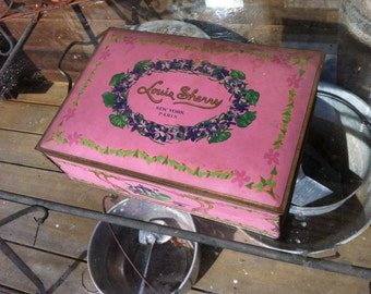 "vintage lavender Candy box metal tin storage Louis sherry New york Paris very large one 11"" by 8"" by 3 "" 3lb size"
