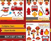 60% OFF SALE Instant Download Clipart Bundle.. Firefighter Team MGB016