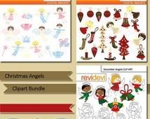 60% OFF SALE Christmas angels clipart bundle / christmas clip art / angels clipart digital / commerical use / christmas images