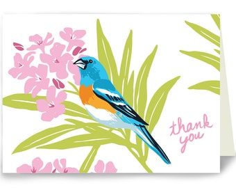 Thank You Lazuli Bunting and Oleander - Box of 8 cards